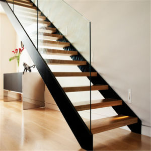 Double Spine Straight Stainless Steel Glass Staircase pictures & photos