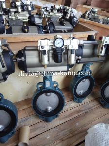 Pneumatic Wafer Butterfly Valve with Limit Switch & Air Treatment Frl pictures & photos