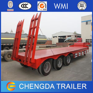 New 3axle 60ton Heavy Duty Hydraulic Ladder Lowbed Trailer pictures & photos