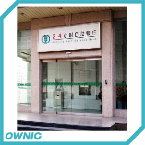 Automatic Frameless Sliding Glass Door for Banks, Double Open pictures & photos
