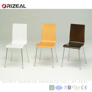 Home Office Furniture Plywood Stacking Dining Chair with Metal Legs pictures & photos