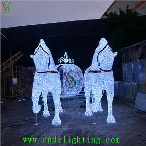 Horse Carriage Santa Claus Christmas Landscape Decoration Motif Light pictures & photos