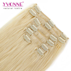 Color #613 Straight Blonde Clip in Human Hair Extensions pictures & photos