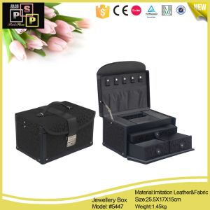 Fabric Light Black Leather Jewelry Box with Metal Handle (5447) pictures & photos