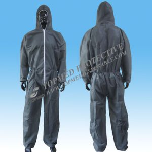 PP Nonwoven One Piece Workwear Grey Overall for Workers pictures & photos