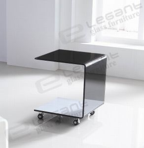 Crystal White Painted Glass Side Table with Wheels pictures & photos