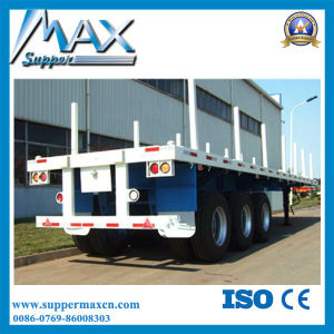 3 Axle Flatbed Semi Trailer with Stake pictures & photos
