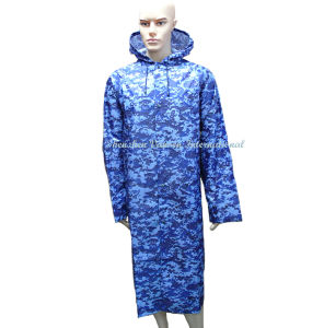 Blue Camouflage Waterproof Long Raincoat with Hood pictures & photos