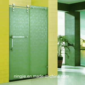 Anti-Explosion Art Temper Glass Bathroom Shower Door (A-8905) pictures & photos