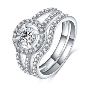 Promotional Zicron Inlaid Wedding Ring Sest for Women (CRI0292-B)