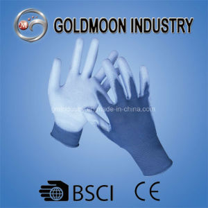 13G Blue Polyester/Nylon Safety Work Glove with White PU Coated pictures & photos