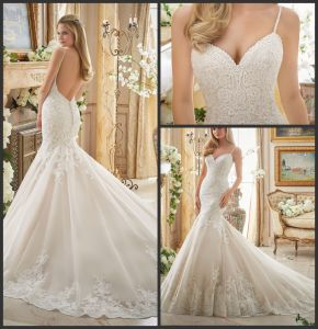 Spaghetti Bridal Gowns Lace Tulle Cathedral Train Mermaid Wedding Dress Mrl2871 pictures & photos