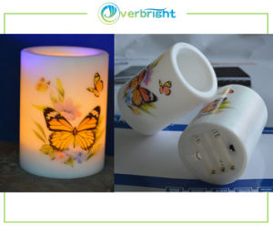LED Sensor Candle with Butterfly Texture (HDE-27)