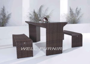 3-PC Backyard Rattan Bar Set/Patio Wicker Bistro Bench/Table pictures & photos