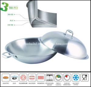 3ply Chinese Stainless Steel Cooking Wok pictures & photos