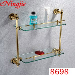 Sanitary Ware Golden Color Glass Shelf (8698) pictures & photos
