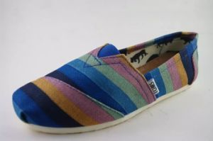 Fashion Strips Print Canvas Flat Casual Shoes for Men (NU003-8) pictures & photos