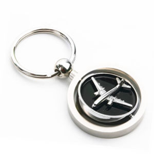 Promotional Metal Air Plane Rotated Round Keyring with Logo (F1256A)