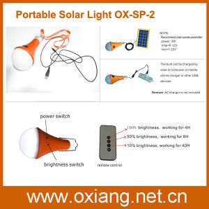 Indoor Portable Solar Light LED with Remote Controller Switch pictures & photos