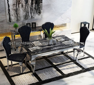 Modern Stone Top Popular Stainless Steel Legs Dining Room Table Chair pictures & photos