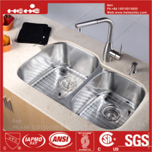 Kitchen Sink, Stainless Steel Under Mount Double Bowl Kitchen Sink with Cupc Certification pictures & photos