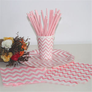 Best Quality Lovely Pink Design Paper Drinking Straws with BSCI pictures & photos