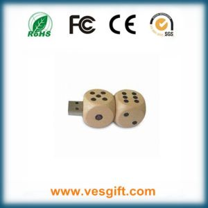 Cute Dice Design Nice Gift Wood USB Flash Driver pictures & photos
