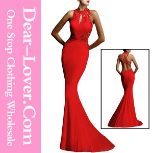 Red Open Back Fine Flowers Wedding Evening Dress Gown pictures & photos