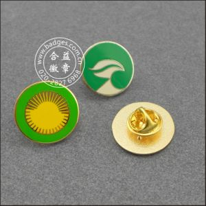 Round Brass Metal Lapel Pin Stamped Logo Badge (GZHY-LP-008) pictures & photos