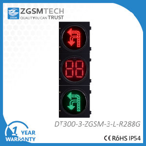 Turn Round U Turn and Turn Left Traffic Signal with 2 Digital Counterdown Timer Red Green 2 Colors 300mm Traffic LED Signal Light pictures & photos