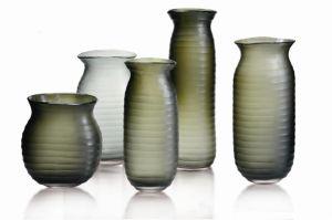 Cross Stripe Colored Galss Vase Set for Decoration