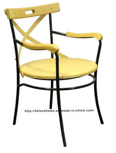 Classic Dining Restaurant Metal Wooden Arm Chair pictures & photos