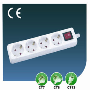 Extension Four Ways EU Socket with Switch pictures & photos