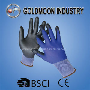 18g Blue Nylon Safety Work Glove with PU Coated pictures & photos