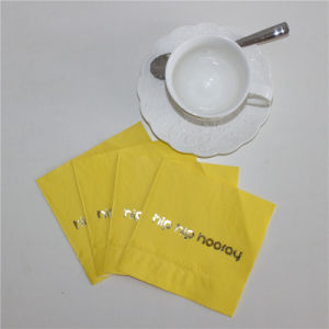 Hip Hip Hooray Design Yellow Color Foiling Paper Napkin pictures & photos
