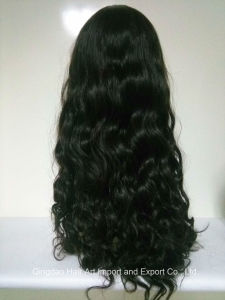 "24"" Mongolian Virgin Hair Silk Top Body Wave Jewish Wig pictures & photos"
