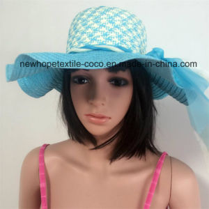100% Paper Straw Hat, Fashion Floppy Falbala Style with Ribbon Decoration pictures & photos