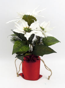 Xmas Decoration Poinsettia in Flax Bag pictures & photos