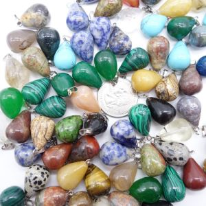 Natural Stone Mixed Color Water Drop Crystal Agate Charms Pendants pictures & photos
