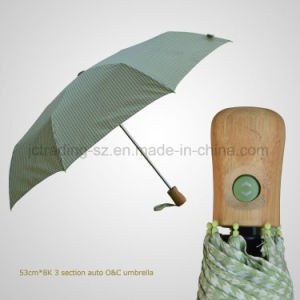 Bamboo Handle 3 Folding Automatic Open&Close Fashion Umbrella (JF-AQT304) pictures & photos
