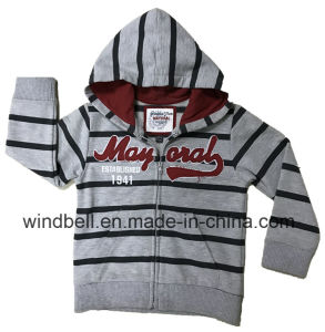 Yarn-Dye Striped Fleece Sweat Zipper Hoody for Boy pictures & photos