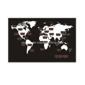 LED Digital 24 Time Zone World Map Clock pictures & photos
