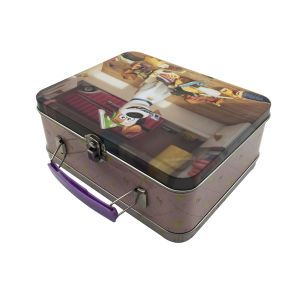 Handle Lunch Tin Box School Boy&Girl Wholesale Tin Container pictures & photos