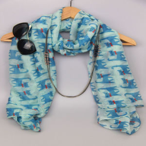 Girls Printing Cute Cat Scarf, Fashion Accessory Shawls, Plyester Scarves pictures & photos