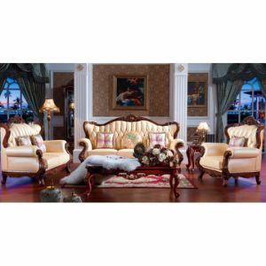 Living Room Furniture with Wooden Leather Sofa Set (508)
