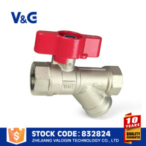 Valogin Butterfly Brass Ball Valve with Filter Fxf pictures & photos