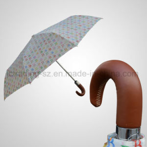 Real Leather Handle 3 Fold Umbrella Automatic Open&Close Fashion Gift Umbrella (JF-ADB302) pictures & photos