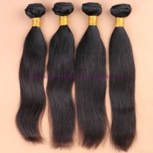8A Unprocessed 3/4 Bundles with Lace Closure Peruvian Virgin Hair Straight with Closure Human Hair Weave with Closure pictures & photos