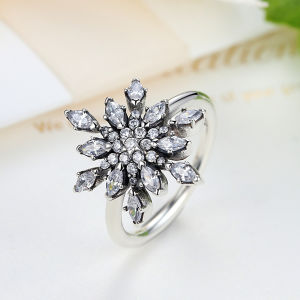 925 Sterling Silver Crystalized Snowflake CZ Finger Rings for Women Jewelry & Brand New Hot Collection 925 Sterling Silver Snowflake Blue Crystals Ring Jewelry pictures & photos