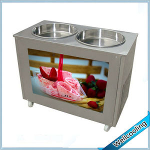 Stainless Steel Double Pan Fry Roll Ice Cream Machine pictures & photos
